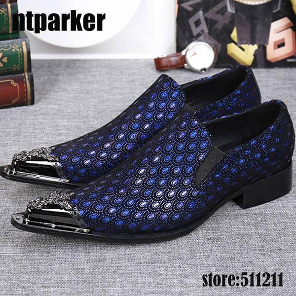 Zapatos de vestir con punta de metal en punta de estilo occidental azul / gris Zapatos de cuero de boda para hombres, EU38-46