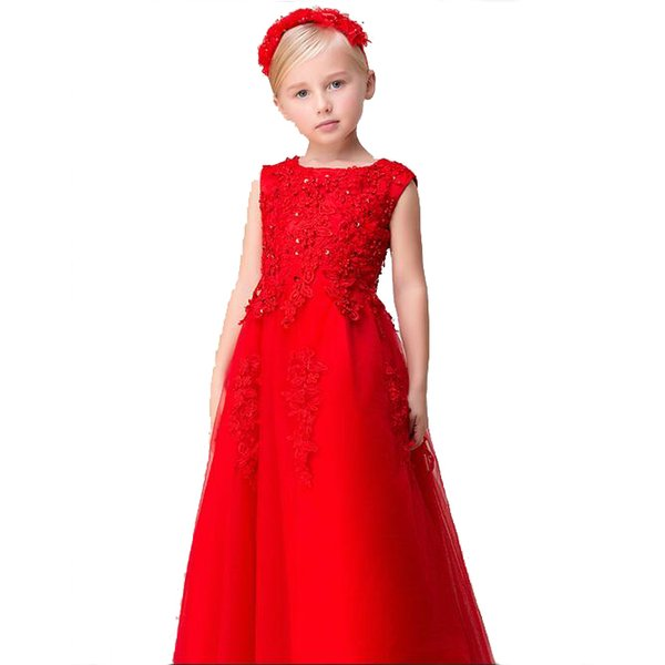 New Collection A-Line Red Flower Girls Dress O-Neck Wholesale Price Lace Children Party Dress Free Shipping
