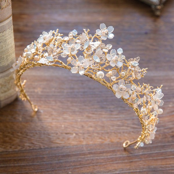 Euramerican Vintage Wedding Bridal Crystal Rhinestone Pearls Gold Butterfly Crown Headband Hairband Tiaras Hair Accessories Jewelry Prom