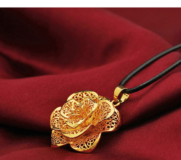"BLACK LEATHER CORD CHAIN WOMENS 21.6"" NECKLACE GOLD FANCY FLOWER JEWELRY PENDANT Gold about 30% or more, with the ability to disaster."