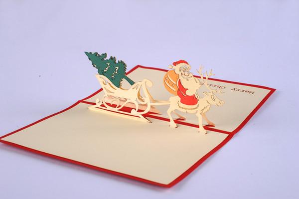 Atacado - Papai Noel e árvore de Natal / 3D pop up cartão / cartão de Natal Frete grátis