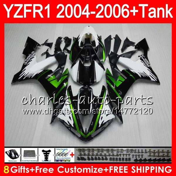 8Gift 23Color corporal para YAMAHA YZF1000 YZFR1 04 05 06 YZF-R1000 58HM9 verde negro YZF R 1 YZF 1000 YZF-R1 YZF R1 2004 2005 2006 Kit de carenado