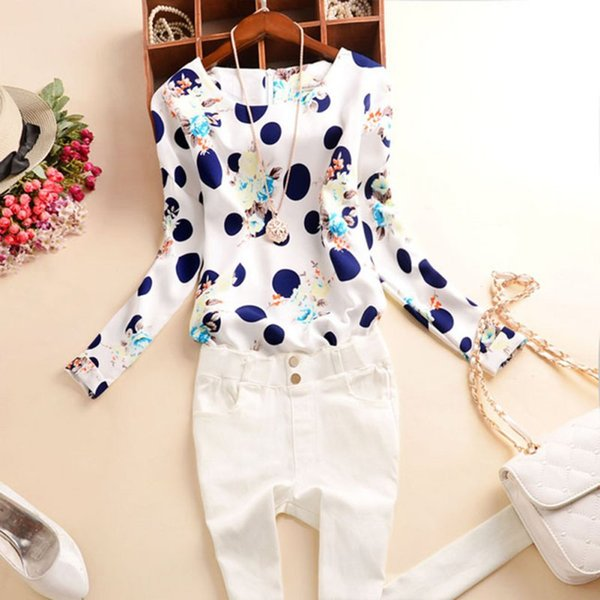 Wholesale- Trendy Women\'s OL Lady Long Sleeve Polka Dot Clothes T-Shirt Casual Tops Tee New Fashionable
