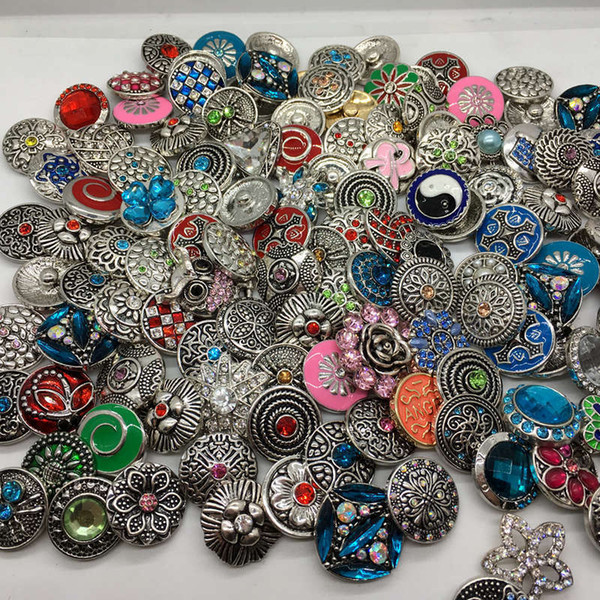 100pcs Lot 18MM Snaps Charm Mixed Style 18mm Interchangeable Button Fit For Ginger Snaps Fashion Jewelry