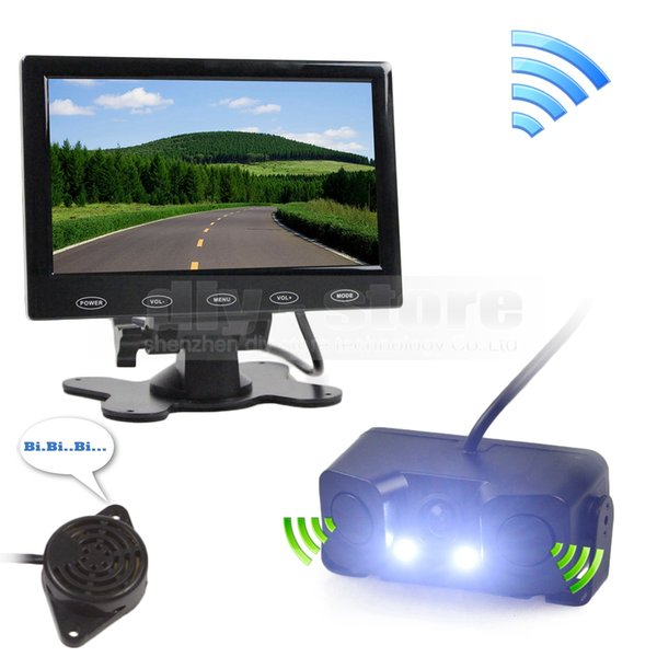 7inch Touch Button Ultra-thin Car Monitor + LED Rear View Car Camera Wireless Parking Radar Sensor Assistance System Kit