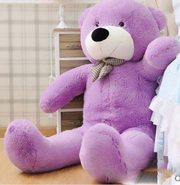 "New arrival 6.3 FEET TEDDY BEAR STUFFED LIGHT BROWN GIANT JUMBO 72"" 160cm birthday gift purple 5 colour choose"