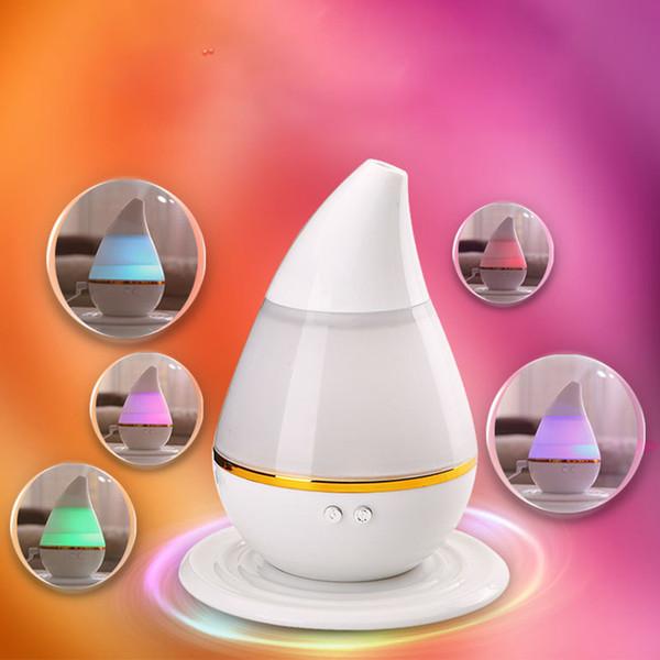All'ingrosso-Bianco ABS USB ricarica 12,8 * 12,8 * 15,5 centimetri LED Umidificatore Umidificatore Bruciatori di oli essenziali Aromaterapia ad ultrasuoni Diffusore 250mL