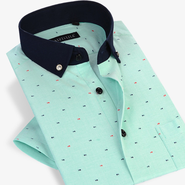 Wholesale- Summer 2017 Men Short Sleeve Fish Bone Pattern Casual Shirts Contrast Color Comfort Soft Slim Fit Cotton Button Down Dress Shirt