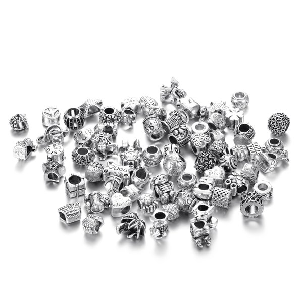 best selling Mix Colors Big Hole Loose Beads charm For Pandora DIY Jewelry Bracelet For European Beads set Accessories