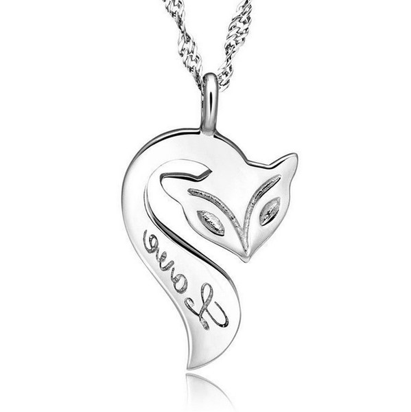 Fox Pendant Necklace 925 Sterling Silver Fire Fox Necklace Love Charm Pendant Enamel Bronze Jewelry For Women Wedding Party Free shipping