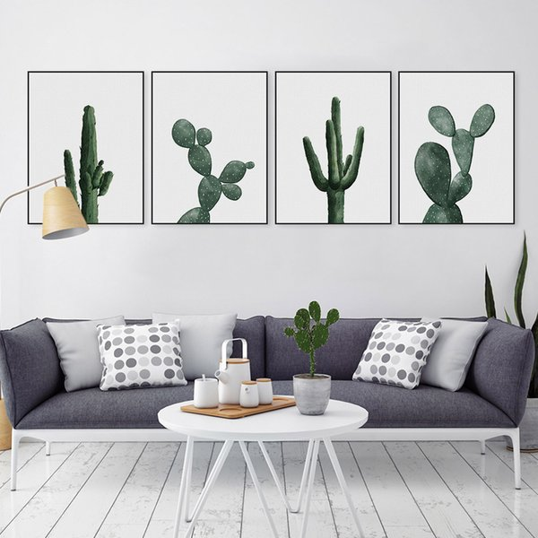 Nordic Modern Floral Watercolor Green Cactus Canvas Big A4 Art Print Poster Cottage Wall Pictures Home Decor Painting No Frame