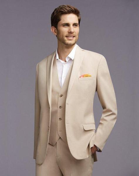 На заказ новое прибытие жених смокинги Notch отворотом мужской костюм шампанское жених/Шафер свадебные/выпускного вечера костюмы(куртка+брюки+галстук+жилет) K20