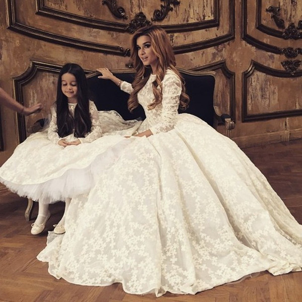 Ivory Lace Long Sleeves Flower Girl Dresses Wedding party First Communion Dress for Wedding Girls Mother and Daughter Dress with Zipper Back