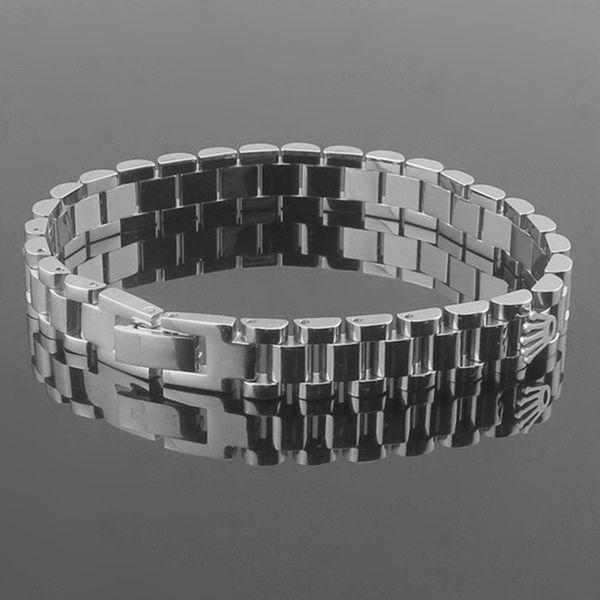 Beichong fa hion brand jewelry tainle teel 10mm wide watch chain crown bracelet charm tank chain pul eira fine jewelry joia