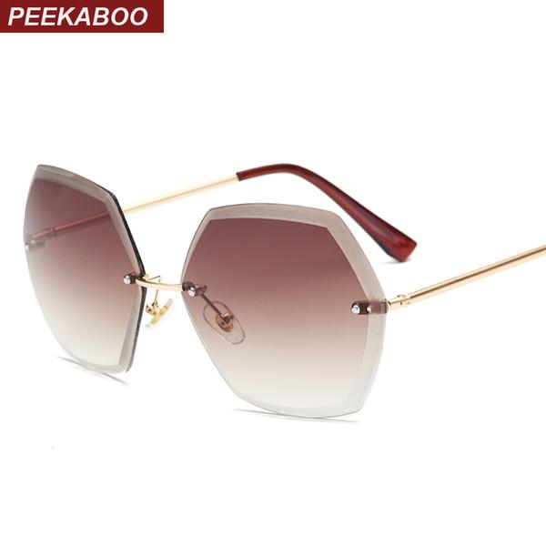 comprare popolare 3b45e c2cc7 Acquista All'ingrosso Peekaboo Oversize Senza Montatura Occhiali Da Sole  Esagonali Rosa Arancio Sfumato Sfumato Da Donna Senza Montatura Occhiali Da  ...