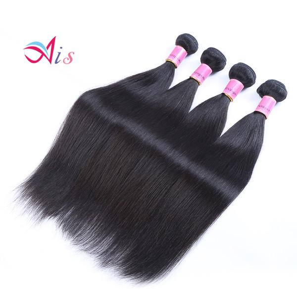 Ais Hair Brasilianisches Reines Menschenhaar Extensions Weaves 4 Bundles Gerade Natürliche 1B Farbe 8-30 Zoll
