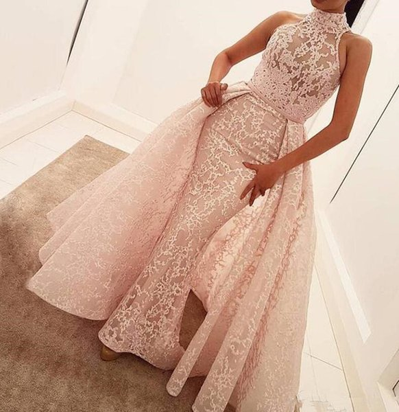 2018 High Neck Mermaid Evening Dresses With Detachable Train Blush Pink Full Lace Appliqued Prom Gowns Illusion Bodice Formal Party Dress
