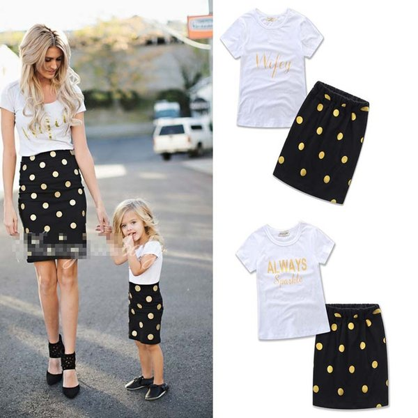 best selling Mother and Daughter ins dress suits Summer Girls Kids 2pcs set letter White T shirt dots skirt Suit Family Matching Outfits clothes B001