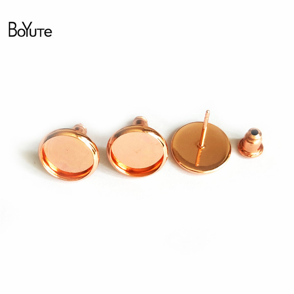 BoYuTe 50Pcs To Fit 8MM 10MM 12MM Cabochon Earring Base Rose Gold Plated Diy Stud Earring Findings