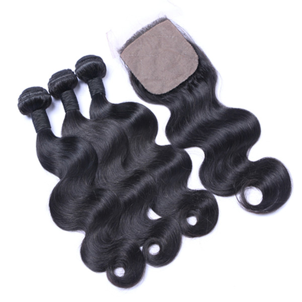 Brazilian Hair Weft Human Virgin Remy Hair Bundles Weave Wavy Hair Extensions Natural Color Body Wave With Closure Can Be Dyed