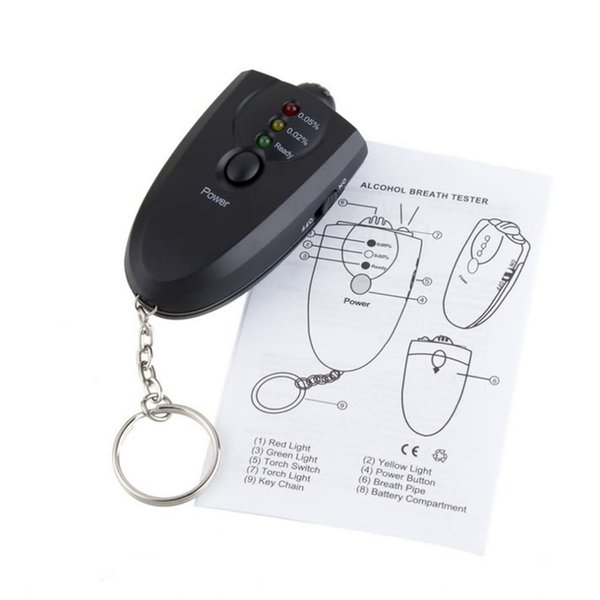 best selling Portable car Keychain LED Alcohol Breath Tester Breathalyzer