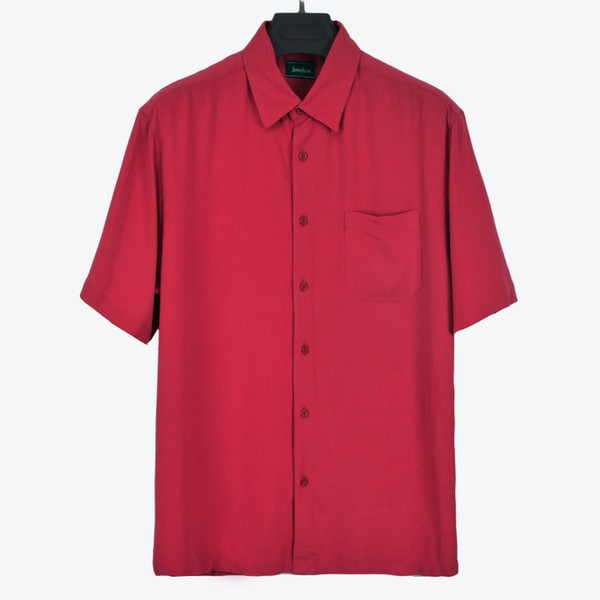 Wholesale- Summer silk turn-down collar loose big size mens shirt short sleeve Four Colours available