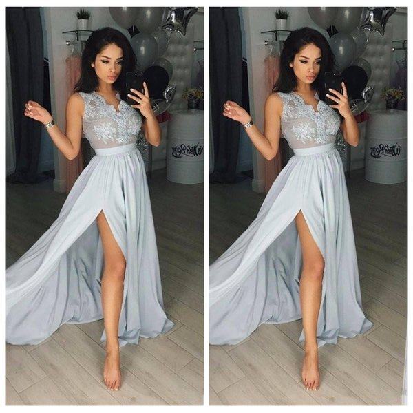 Sexy Silber Lange Arabische Abendkleider Spitze Top V-ausschnitt Ärmellos Eine Linie Split Chiffon Abendkleider Party Kleid Billig
