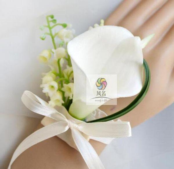 white wrist flowers