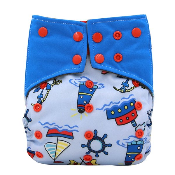 Bamboo Charcoal Cloth Diapers AI2 Reusable Pocket Snaps Baby Sleep Diapers Print Newborn Diaper Cover Double Gussets One Size