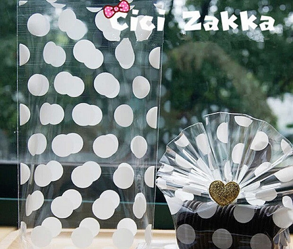 Free shipping white transparent polka dot cookie bag candy package flat bag gift packing supply girls favor wedding party bags