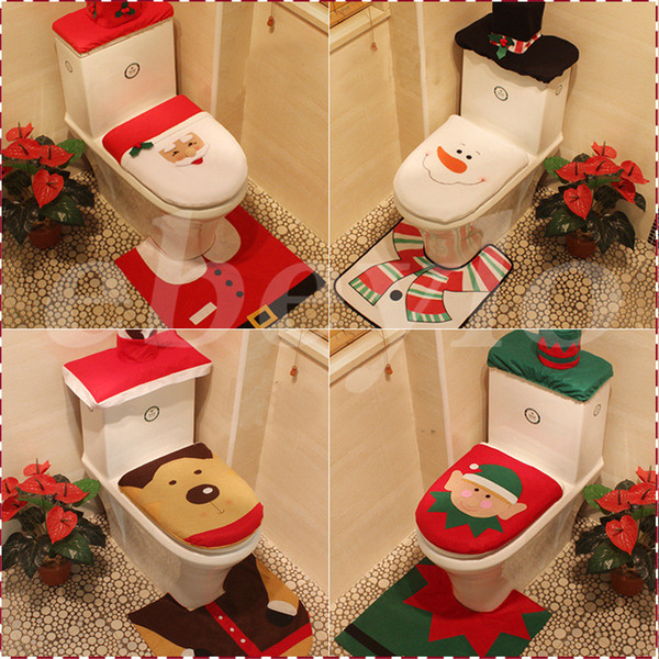4 Styles Cheap 2016 Merry Christmas Decoration Santa Elk Elf Toilet Seat Cover Rug Hotel Bathroom