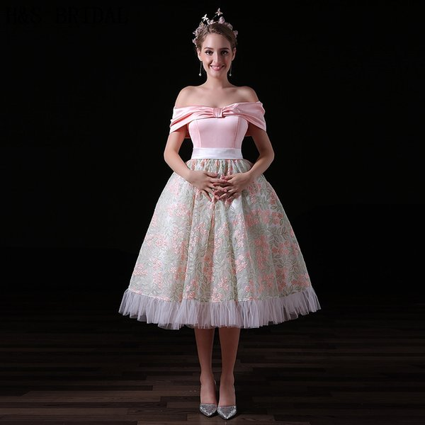 Queen Vintage Tea Length Prom Dresses Off The Shoulder Pink Pattern Elegant Evening Party Gowns A026