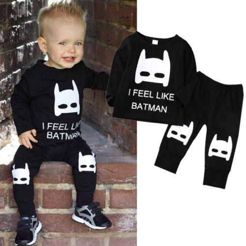fashion baby suits Cute Newborn kids Boy Girl long sleeve T-shirt+Pants Outfit black Clothes I FEEL LIKE BATMAN white letters printed Set