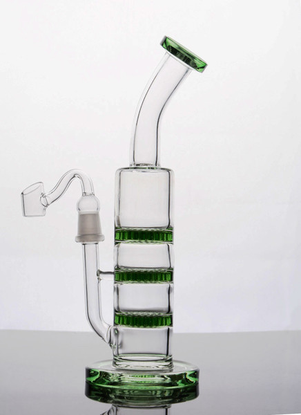 Best Green Bongs Three Honeycomb Perc Recycler Glass Water Pipe Tripple Honeycomb Bong Cheap Thick Dab Rigs Free Shipping