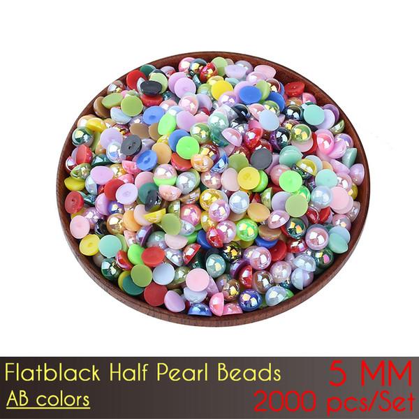 ABS Flat Back Half Pearl Beads 5mm AB Color Craft 2000pcs/Set Imitation Pearls Half Round Flatback Pearls Resin Scrapbook Beads Decorate Diy