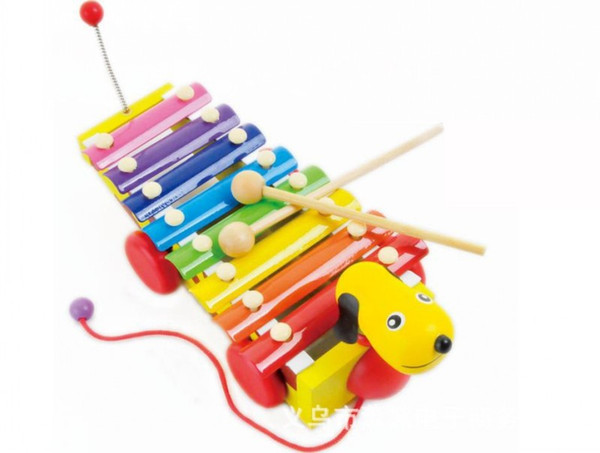 Musical Instrument Toy Little Yellow Dog Trailer Music Toys Wooden Knock Drums Percussion For Children Kids Building Blocks 18xd H1