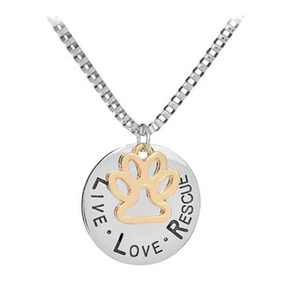 Fashion necklace live love rescue pendant necklaces dog paw silver fashion necklace live love rescue pendant necklaces dog paw silver plated for women necklaces pendants mozeypictures Gallery