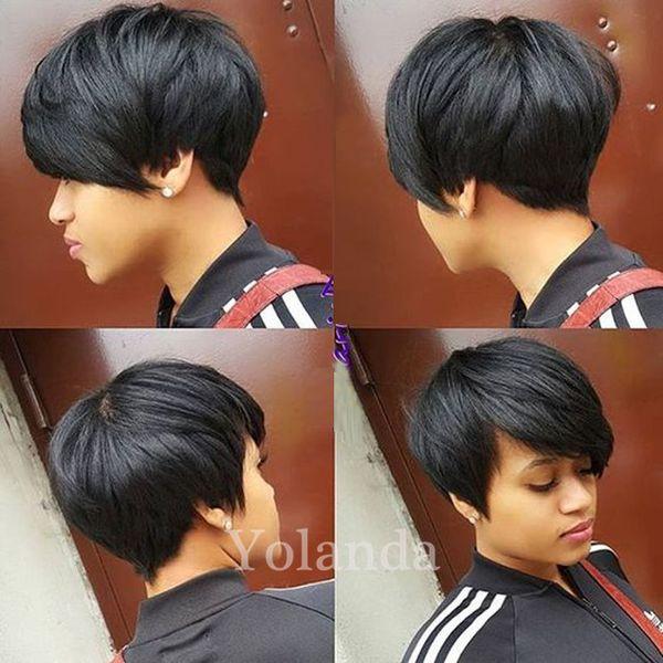 Brazilian Human hair Straight Pixie Cut cheap short human hair wigs full density front bob lace wigs for black women