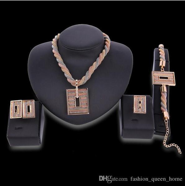 5set Necklace Earrings Bangle square Jewelry Set Luxury Women Rhinestone Alloy Circles Party Jewelry 4-Piece Set F10302