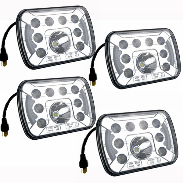 best selling 4 PCS 7x6 7x5 LED Headlight H4 Light 55W for Jeep Wrangler YJ Cherokee Comanche 6054