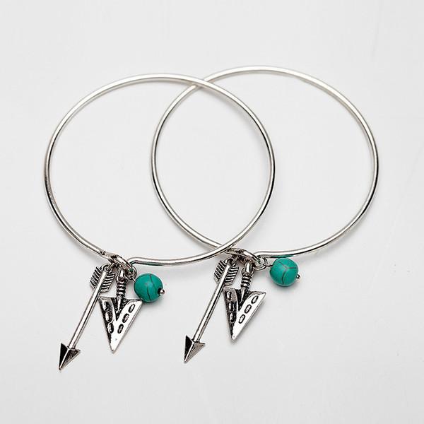 Fashion Bracelets for Women Gold Silver Arrow Turquoise Charms for Bracelets Alloy Pendants Bracelet Alloy Bangles 2Pcs/Set