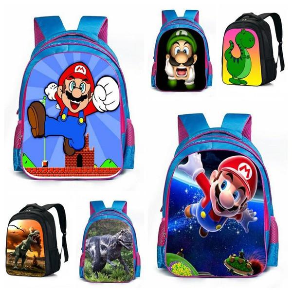Super Mario Bros Dinosaur School Bags Animal schoolbag Kids Boys Girls fashion print children backpack Shoulder Book Bags Wholesale