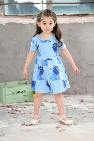 New Girls Princess Cotton Short Dress Baby Kids Short Sleeve Cartoon Lion King Pleated Dress Children Babies Ruffles Clothes Dresses Skirts