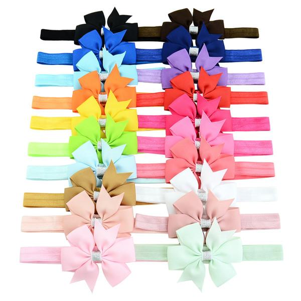 Baby Girls Bow Headbands Infants Ribbon Bow Bowknot Elastic Hair Accessories 20 Colors Kids Fashion Princess Hairbands Children Headdress