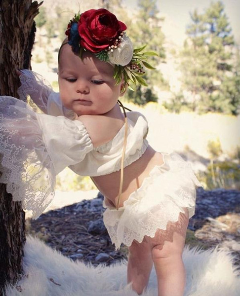 Cute Infant Baby Girls Clothing Set Summer Lace Sleeve Crop Top + Shorts 2pcs Kids Set Children Outfits Suit 3146