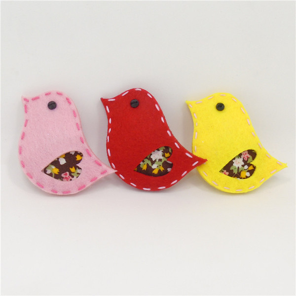 15pcs/lot Felt Bird Snap Hair Clip Animal Hair Accessory Forest Animal Hairpin Fancy Bird Outfits Kids Handmade Red Pink Barette