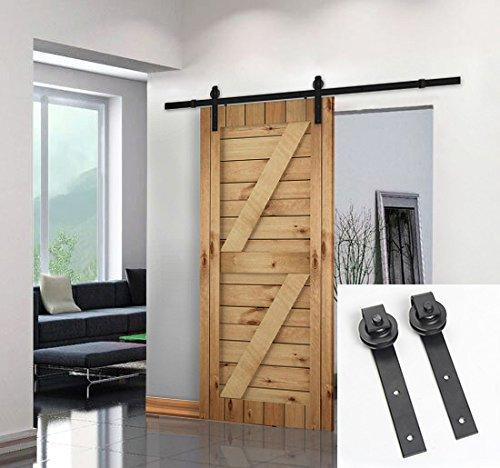 best selling Free shipping-Black Antique Style Steel Sliding Barn Rustic Wood Door Closet Hardware 5ft 6ft 6.6ft