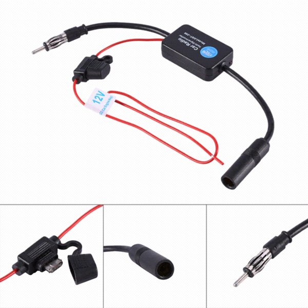 1 Set 12V Car FM Radio Aerial Antenna Signal Reception Amp Amplifier Booster Universal High Quality Auto Replacement Parts
