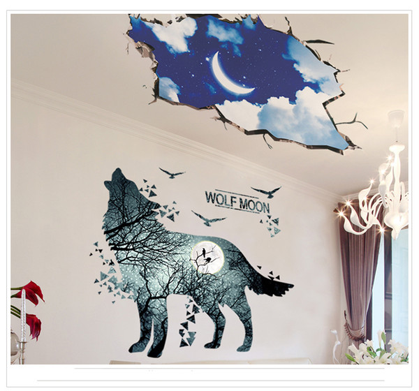 Forest Animals Wall Sticker Decor DIY Wallpaper Art Decals Deer Wolf Moon for Bedroom Room Home Decoration