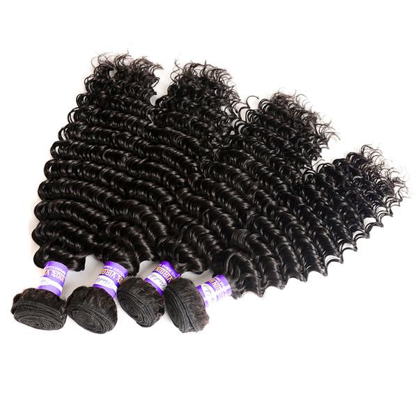 Badshop Peruvian Deep Wave Curly Hair 3 or 4 Bundles 100% Unprocessed Human Hair Weave Extensions Bundle Peruvian Virgin Hair Deep Curly